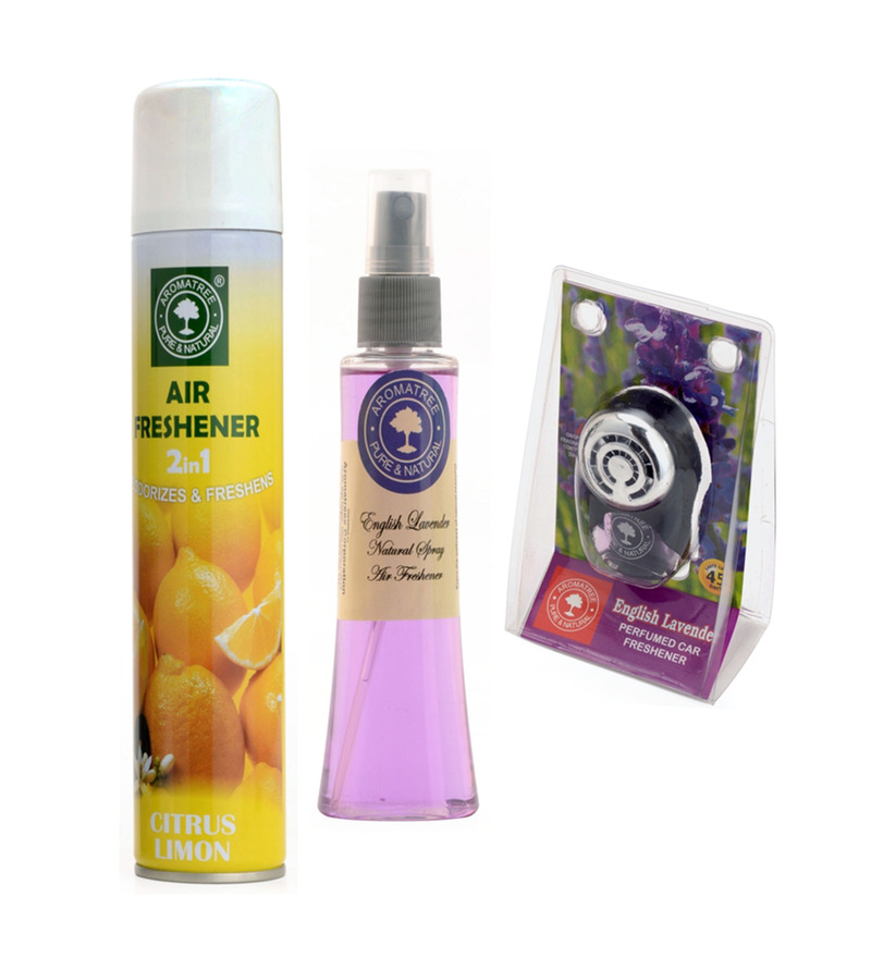 Aromatree 2-In-1 Citrus Limon Air Freshener & English Lavender Natural Spray with English Lavender Pure Car Perfume  available at Pepperfry for Rs.389