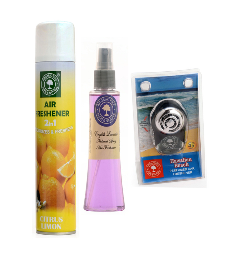 Aromatree 2-In-1 Citrus Limon Air Freshener & English Lavender Natural Spray with Hawaiian Beach Pure Car Perfume  available at Pepperfry for Rs.389