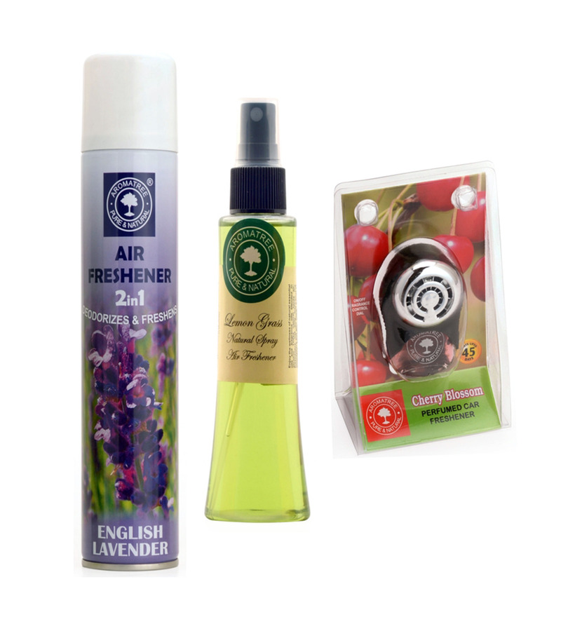 Aromatree 2-In-1 English Lavender Air Freshener & Lemon Grass Natural Spray with Cherry Blossom Pure Car Perfume  available at Pepperfry for Rs.389