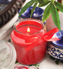 Aroma India Red Wax Premium Bell Jar Candle with Satin Ribbon