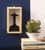 Art Ka Keeda Black Pine Wood Wally Rectangle JesusFramed Wall Art