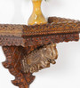 Art of Jodhpur Brown Solidwood  Wall Shelf with hooks for wall mounting