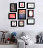 Art Street Black Fibre Wood Quirky Quote Love & Laughter Theme Wall Quote Photo Frame - Set of 9