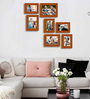 Art Street Brown Fibre Wood Painting Mantra Victory Individual Wall Photo Frame - Set of 7