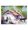 Art Zolo Handmade Sheet 30 x 22 Inch Village House Unframed Artwork Painting