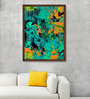 ArtCollective Canvas 27 x 37 Inch Bustling Blues Framed Limited Edition Digital Art Print by Parbbonni Bhowmik