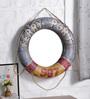 Artisans Rose Blue Fibre Ring A-Round Framed Mirror