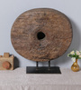 Artisans Rose Brown Solidwood Wheel of Change on Stand Showpiece