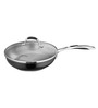 Arttdinox Black Stainless Steel 1 L Non Stick Frying Pan with Glass Lid
