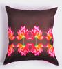 ARTychoke Brown Silk 16 x 16 Inch Four Waterlily Cushion Cover