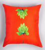 ARTychoke Orange Silk 12 x 12 Inch Waterlily Cushion Cover