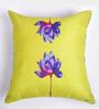 ARTychoke Yellow Silk 16 x 16 Inch Waterlily Cushion Cover