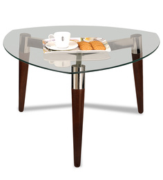 Asiab Three Legged Coffee Table with Clear Glass Top by Durian