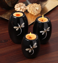 Asian Artisans Set Of 3 Oval Candle Stands With Dragon Fly-black