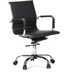 Astra Low Back Pu Chair Black by Hometown