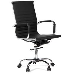 Astra Medium Back Pu Chair Black by Hometown