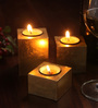 Asian Artisans Bronze Wooden Vietnamese Lacquer Square Candle Holder - Set of 3