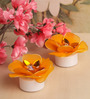 Asian Artisans Yellow Wax Floral Candle - Set of 2