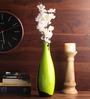 Asian Artisans Green Wooden Lacquer Long Vase