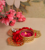 Asian Artisans Gold Ornate Roses Metal Tea Light Holder
