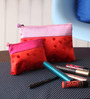 Asian Artisans Polka Dots Silk Red Travel Accessory Pouch - Set of 2