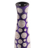 Asian Artisans Purple Wooden Long Corner with Polka Dots Vase