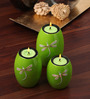 Asian Artisans Green Wood Oval Candle Stand - Set of 3