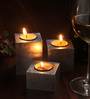 Asian Artisans Silver Wooden Vietnamese Lacquer Square Candle Holder - Set of 3