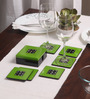 Asian Artisans Vietnamese Green Wood with Lacquer Coating Coasters with Box - Set of 6