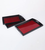 Asian Artisans Vietnamese Red Wood & Lacquer Coating Tray - Set of 3
