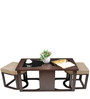 Attractive Coffee Table with Two Jute Cushioned Stools by ARRA