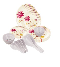 Aura 24 Pc Pink Floral Melamine Dinner Set