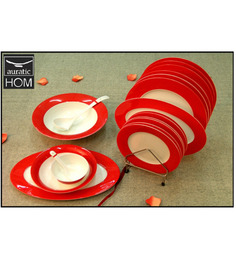 Auratic East Meets West Bone China Red Dinner Set 205 - 32 Pcs