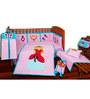 Aurraa 10 Piece Cotton Crib Bedding Set with Bumper in Pink Colour
