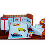 Aurraa 9 Piece Cotton Crib Bedding Set without Bumper in Blue Colour