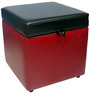 Ava Square Storage Pouffe in Black & Red Colour by Siwa Style
