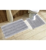 Avira Home Silver 100% Cotton Bath and Toilet Mat  - Set of 2