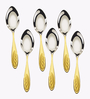 Awkenox Feather Stainless Steel Tea Spoons - Set of 6 (Model: A - Feather002-Ts-006)