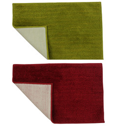 Azaani Green & Red Cotton Bath Mat - Set Of 2