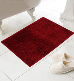 Azaani Voguish Red Cotton 24 x 16 Inch Bath Mat - Set of 5