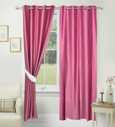 Azaani Solid Dark Pink Eyelet Door Curtain