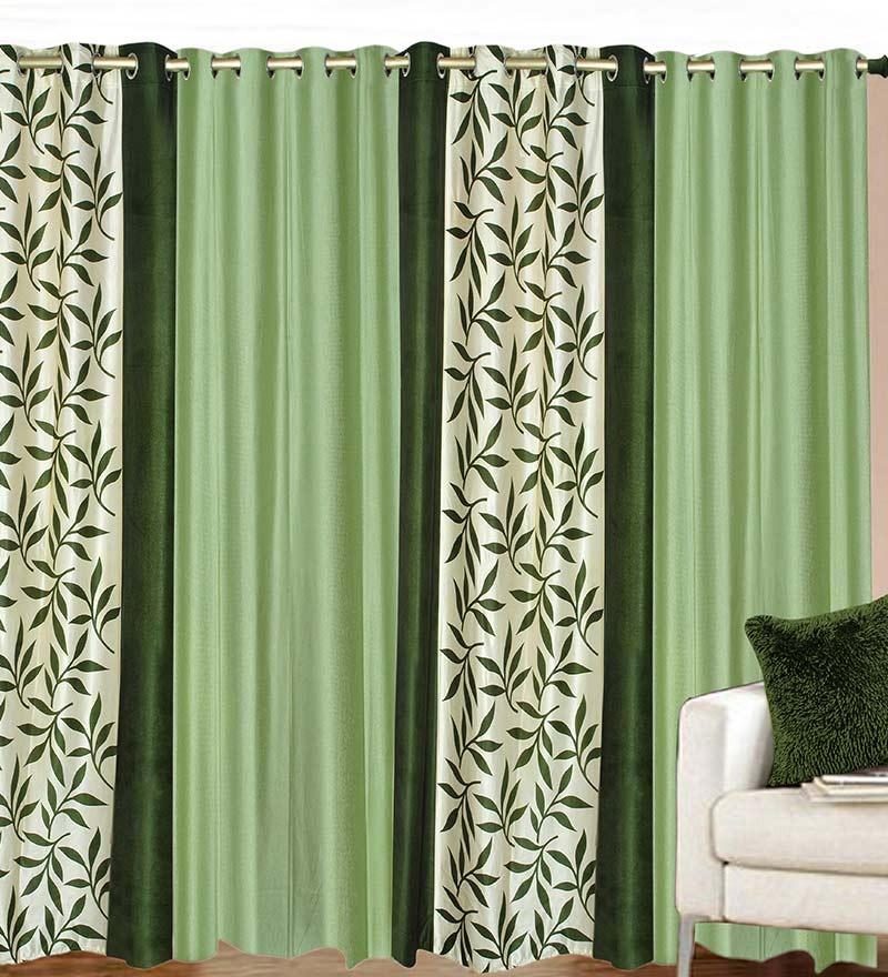 Buy Azaani Green Polyester 84 X 48 Inch Solid Eyelet Door