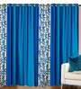 Azaani Blue Polyester 84 x 48 Inch Solid Eyelet Door Curtain - Set of 4