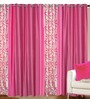 Azaani Pink Polyester 84 x 48 Inch Solid Eyelet Door Curtain - Set of 4