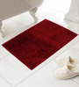 Azaani Red Cotton Micro Bath Mat - Set of 4
