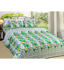 Azaani Green Cotton Floral Double Bed Sheet (with Pillow Covers)