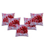 Azaani Multicolour Polyester 17 x 17 Inch Beautiful Red Rose Cushion Covers - Set of 5