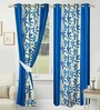 Azaani Blue Polyester 84 x 48 Inch Floral Eyelet Door Curtain - Set of 2
