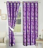 Azaani Purple Polyester 84 x 48 Inch Floral Eyelet Door Curtain - Set of 2