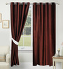 Azaani Brown Polyester 84 x 48 Inch Solid Eyelet Door Curtain - Set of 2